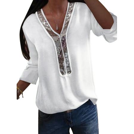 Summer Women Chiffon Loose Tops Long Sleeve Sexy Splice V Neck T Shirt Casual Blouse Shirt Plus Size S-5XL