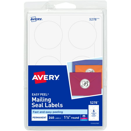 Avery Mailing Seals for Laser and Ink jet Printers, 1.5-Inch, Round, Pack of 240 (5278) Round Office Seals