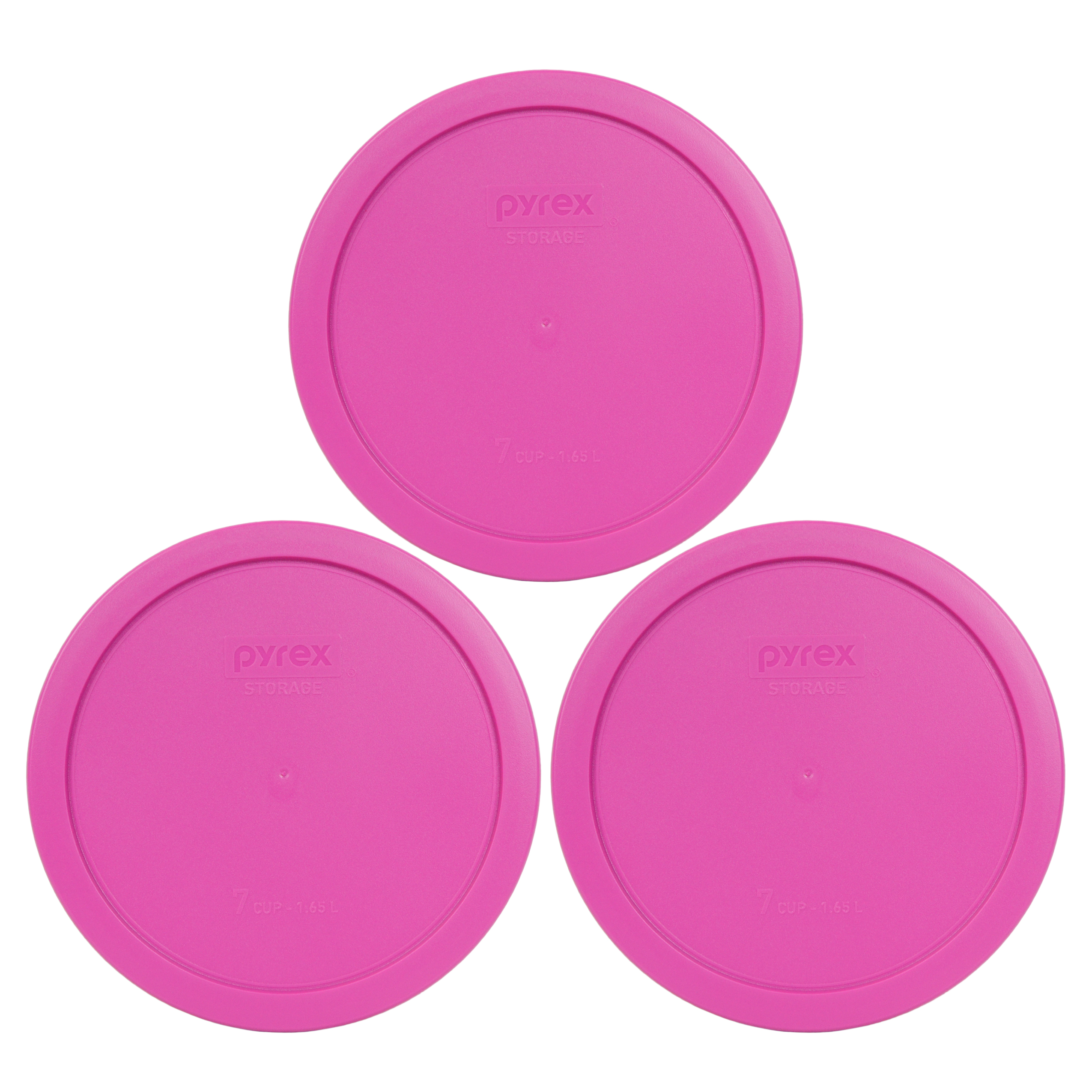 Pyrex Replacement Lid 7402-PC 7-Cup Pink Round Cover (3-Pack) for Pyrex 7402 Bowl (Sold Separately)