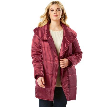 Drop Collar Coat - Roaman's Plus Size Shawl Collar Puffer Coat