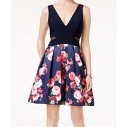 Xscape NEW Blue Womens Size 10 A-Line V-Neck Mesh Floral-Print Dress