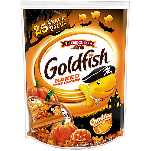 Goldfish Halloween Cheddar Baked Snack Crackers, 0.4 oz, 25 count