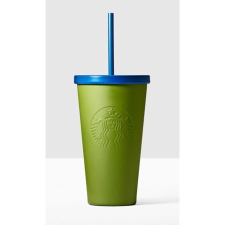Starbucks Stainless Steel Cold Drink Cup With Straw Army Green 16 Oz