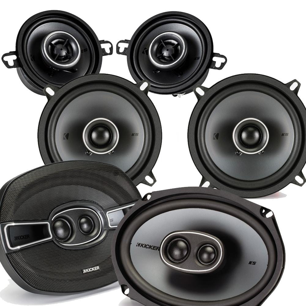"Kicker for Dodge Ram Truck 02-11 speaker bundle - KS 6x9"" 3-way coaxial speakers, KS 5.25"" speakers, & KS 3.5"" speakers"