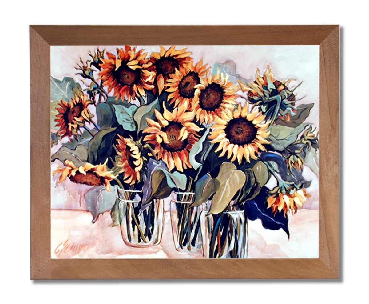 Country Sunflower Floral Kitchen Wall Picture Honey Framed Art Print
