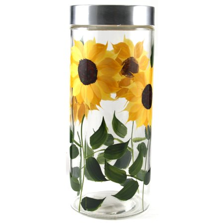 Grant Howard 39517 72 Ounce X Large Hand Painted Sunflower Round Storage