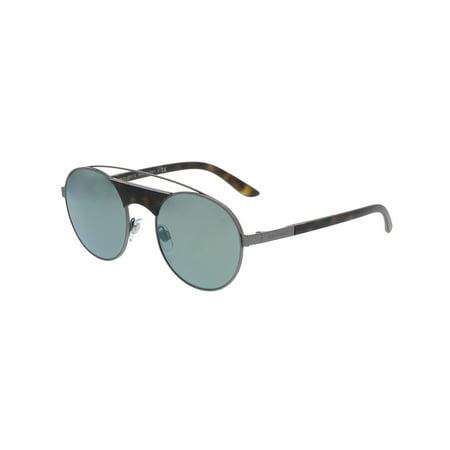 Giorgio Armani Mirrored AR6047-30036R-53 Grey Oval Sunglasses Giorgio Armani Mens Metal Sunglasses
