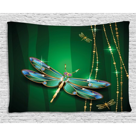 - Dragonfly Tapestry, Vivid Figures in Gemstone Crystal Diamond Shapes Graphic Artsy Effects, Wall Hanging for Bedroom Living Room Dorm Decor, 60W X 40L Inches, Gold Hunter Green, by Ambesonne
