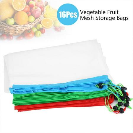 16Pcs Reusable Washable Vegetable Fruit Mesh Bags Storage Pouch with Drawstring Closure, Vegetable Drawstring Bag, Fruit Mesh Bag