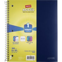 """Staples Durable Poly Cover Notebook Wide Ruled Black 8"""" x 10-1/2"""" 12 PK 2072468"""