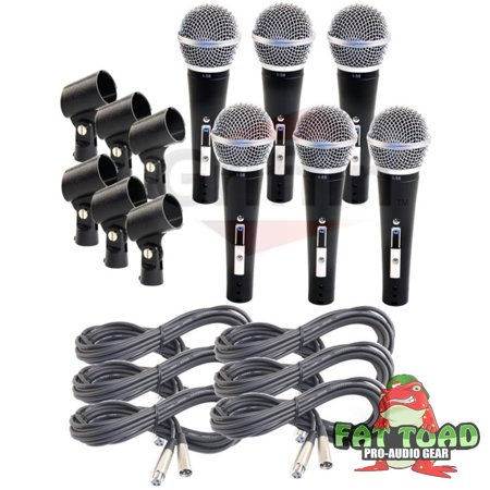 Cardioid Vocal Microphones with XLR Mic Cables & Clips (6 Pack) by Fat Toad Dynamic Handheld, Unidirectional for Studio Recording, Live Stage Singing, DJ, Karaoke Pro Audio 2 ft Mic Cords, 3-Pin