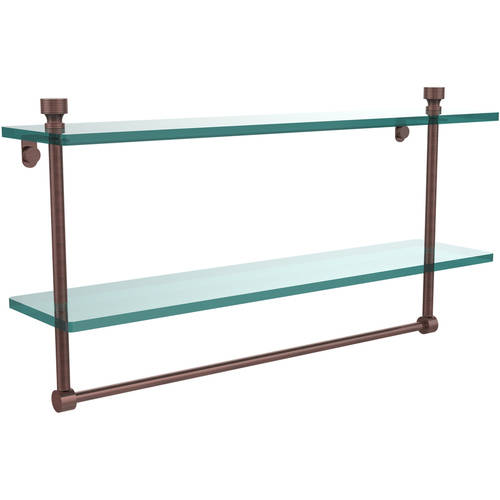 "Foxtrot Collection 22"" 2-Tiered Glass Shelf with Integrated Towel Bar (Build to Order)"