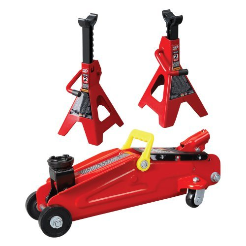 Big Red Trolley Floor Jack with 2-Ton Jack Stand 2-Ton Car Jacks Stands Automotive Shop Tool Equipment TRA82001