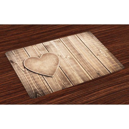Valantines Day Placemats Set of 4 Rustic Heart over Wooden Planks Background Lovers Corner Romantic Celebration Print, Washable Fabric Place Mats for Dining Room Kitchen Table Decor,Tan, by Ambesonne