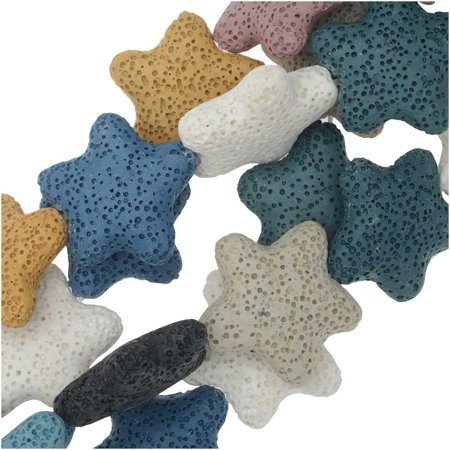 Dyed Natural Lava Gemstone Beads, Starfish 25.5mm, 1 Strand, Mixed Colors