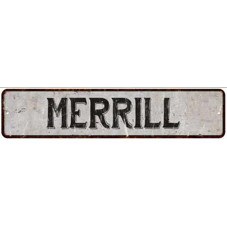 Merrill Street Sign Rustic Chic Sign Home Man Cave Decor Gift White M41805269