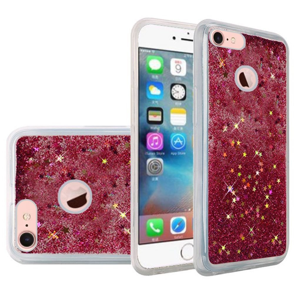 iPhone 7 Fashion Case Screen Protector Combo, Liquid Quicksand Bling Adorable flowing Floating Moving Shine Glitter ShockProof TPU Case 9H HD Tempered Glass Screen Guard for Apple iPhone 7 - Hot Pink