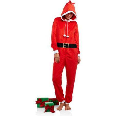 Juniors Holiday Microfleece Sleepwear Adult Onesie Costume Union Suit Pajama with Applique Hood