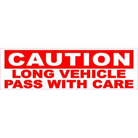 - 10in x 3in Caution Long Vehicle Bumper Sticker Vinyl Truck Trailer Decal