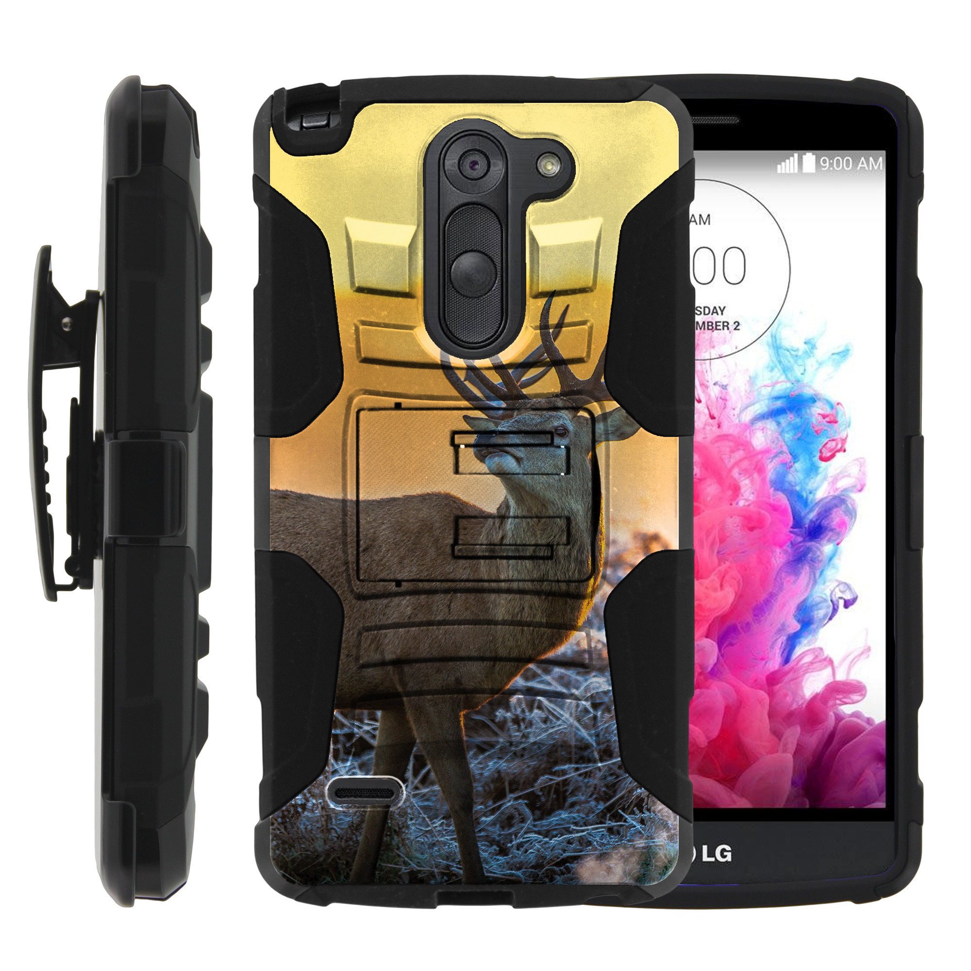 LG G3 Stylus Case | LG D690 Case | G3 Stylus Holster Case [ Clip Armor ] Rugged Case with Kickstand + Holster - Winter Deer