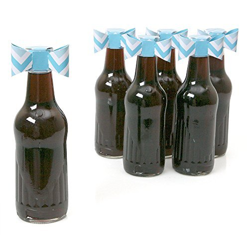 Chevron Blue - Shaped Party Favors Bottle Toppers - 12 Count