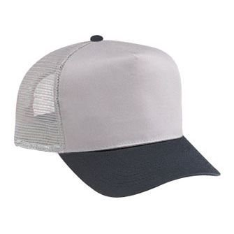 dd08af1c OTTO Cotton Blend Twill Five Panel Pro Style Mesh Back Trucker Hat (0314 -  Blk/Gry)