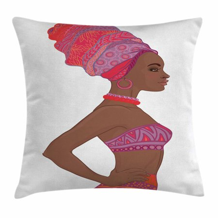 African Woman Throw Pillow Cushion Cover, Beautiful Zulu Woman with Sexy Bandage Dress Necklace Female, Decorative Square Accent Pillow Case, 20 X 20 Inches, Chocolate Purple Dark Coral, by Ambesonne