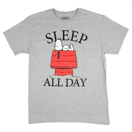 Peanuts Snoopy Sleep All Day Licensed Graphic T-Shirt (Small)