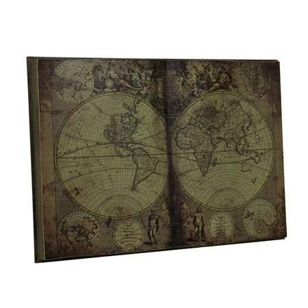 Antique Inspired New World Map Bound Book Wood Wall Art Hanging 28 (Antique Inspired Wood)