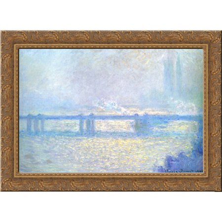 Charming Cross (Charing Cross Bridge, Overcast Weather 24x20 Gold Ornate Wood Framed Canvas Art by Monet, Claude )
