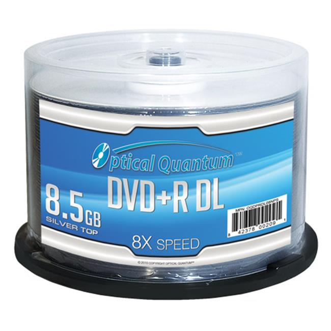 Optical Quantum OQDPRDL08NPS DVD+R DL Spindle - 50-Pack,8X, Shiny Silver