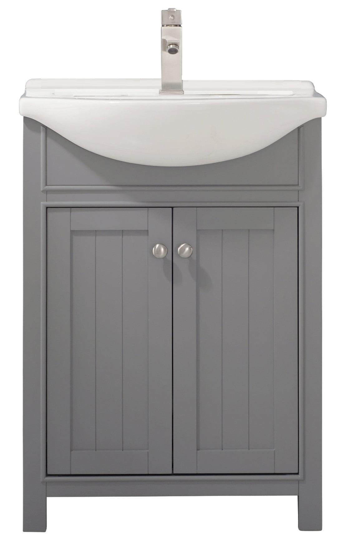 Design Element Marian 24 Single Sink Bathroom Vanity In Stone Gray Walmart Com Walmart Com