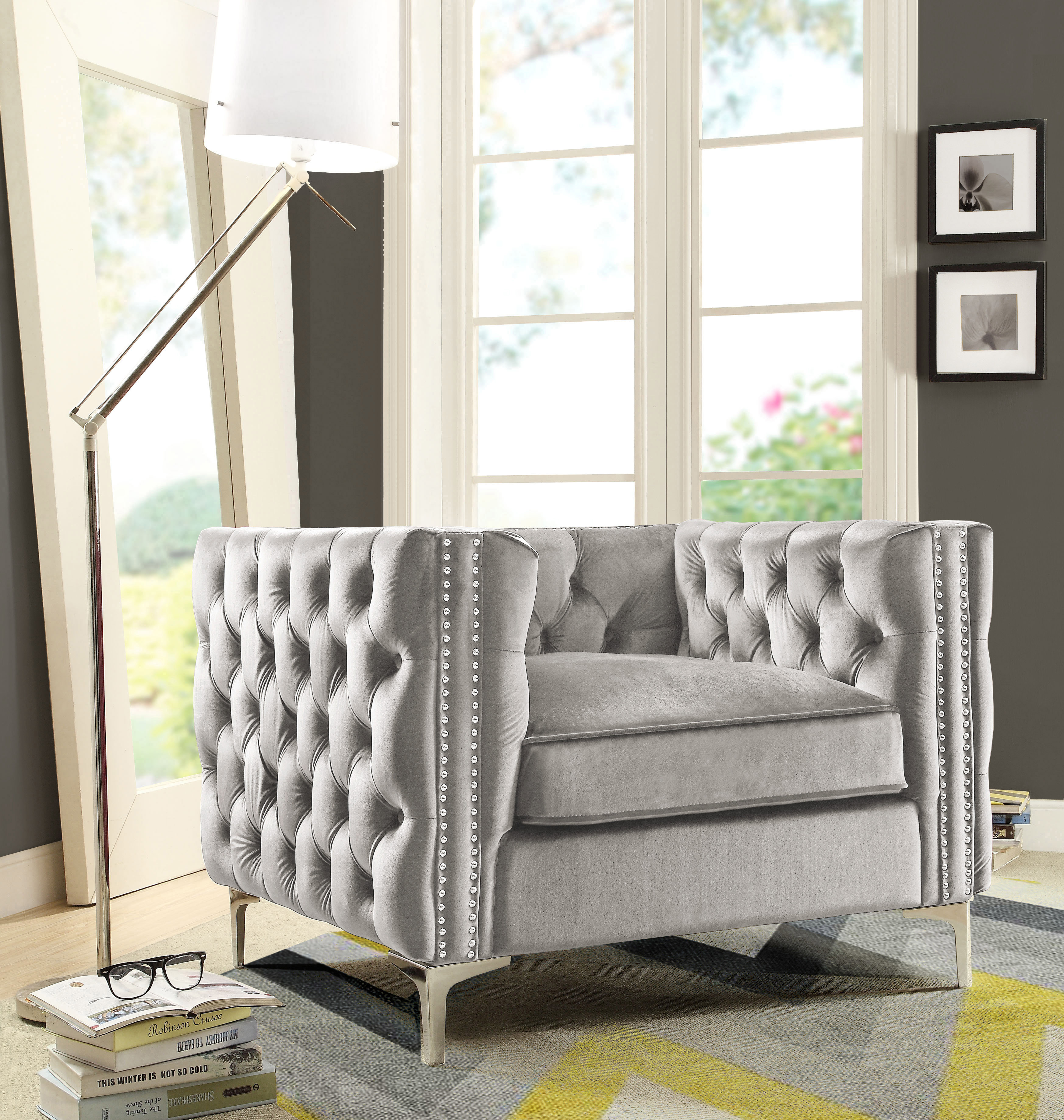 Chic Home Monet Velvet Modern Contemporary Button Tufted with Silver Nailhead Trim Silvertone Metal Y-leg Club Chair,... by Chic Home