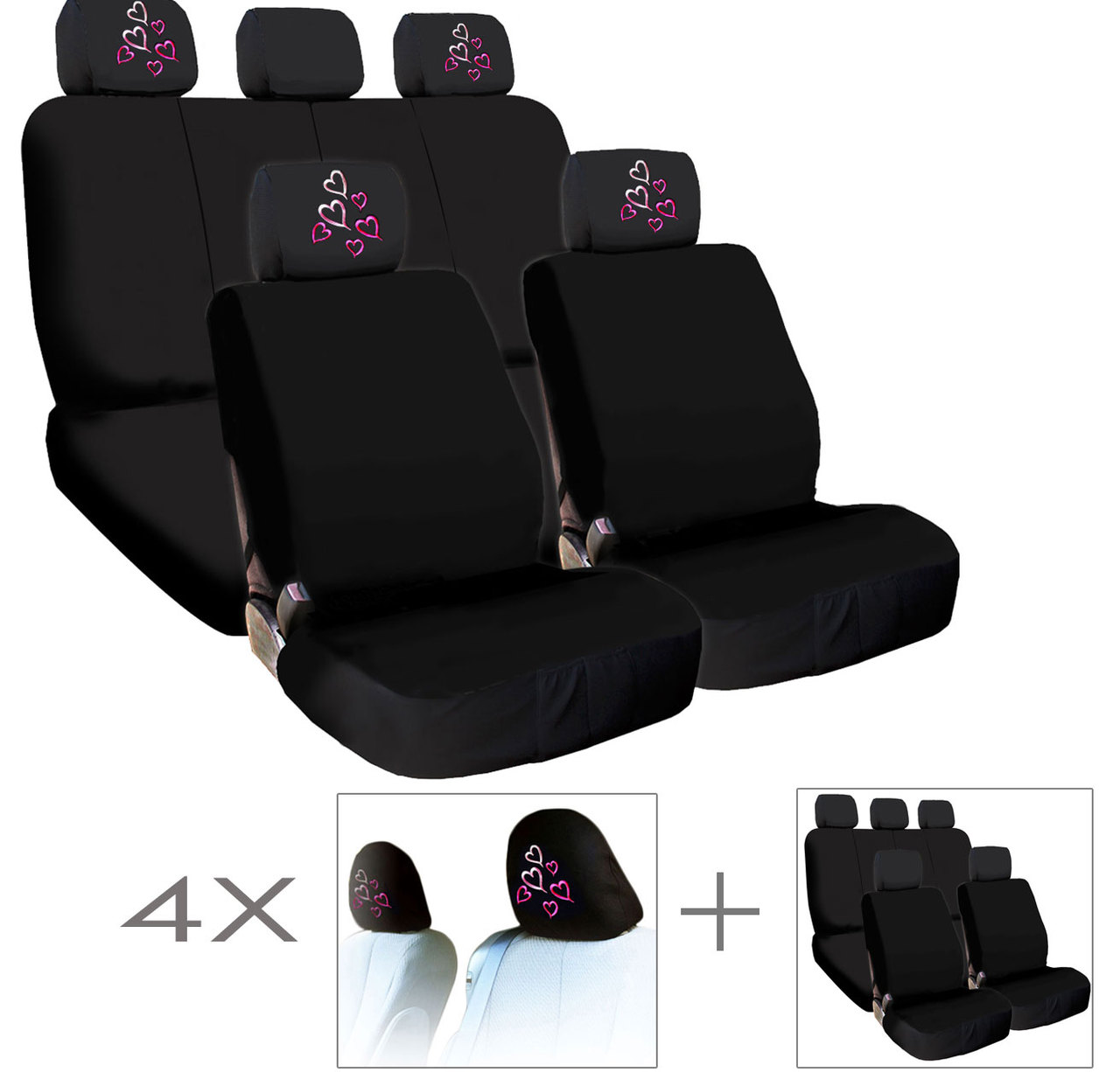 New Bundled 4X Red Pink Hearts Logo Car Seat Headrest Covers And Seat Covers Accessory Universal Fit Shipping Included