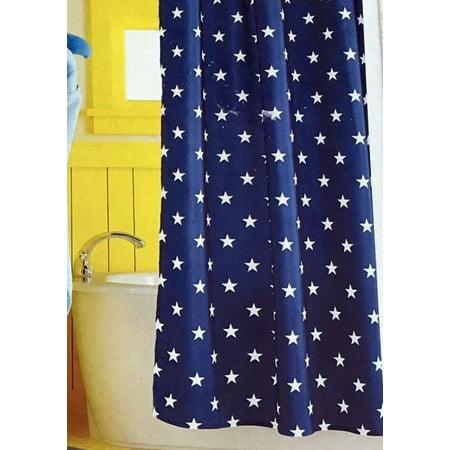 Circo Navy Blue Stars Fabric Shower Curtain Americana USA Bath Decor