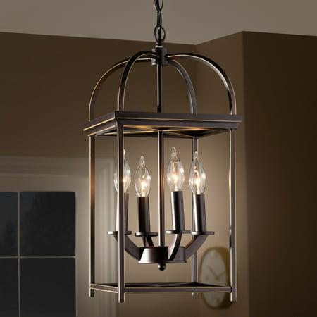 Braxton 5 Light Pendant (Baxton Studio Rustic Farmhouse Dark Bronze Metal 4-Light Lantern Pendant Light - Dark bronze)