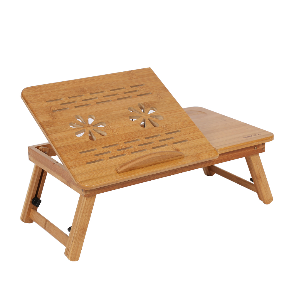 Natural Bamboo Lap Desk, Adjustable Laptop Desk Table with Foldable Tray for Laptop Computers, Tablets and Books Breakfast