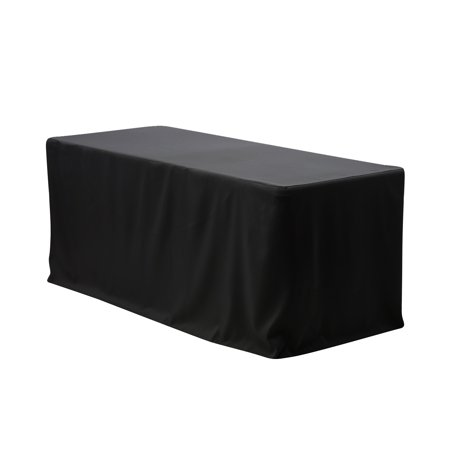 YCC Linen - 8 ft. Fitted Polyester Tablecloth Rectangular Black
