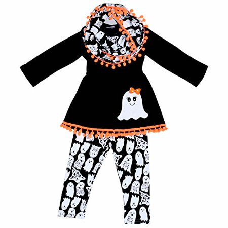 Unique Baby Girls 3 Piece Ghost Halloween Outfit with Infinity Scarf (2T/XS, Black)