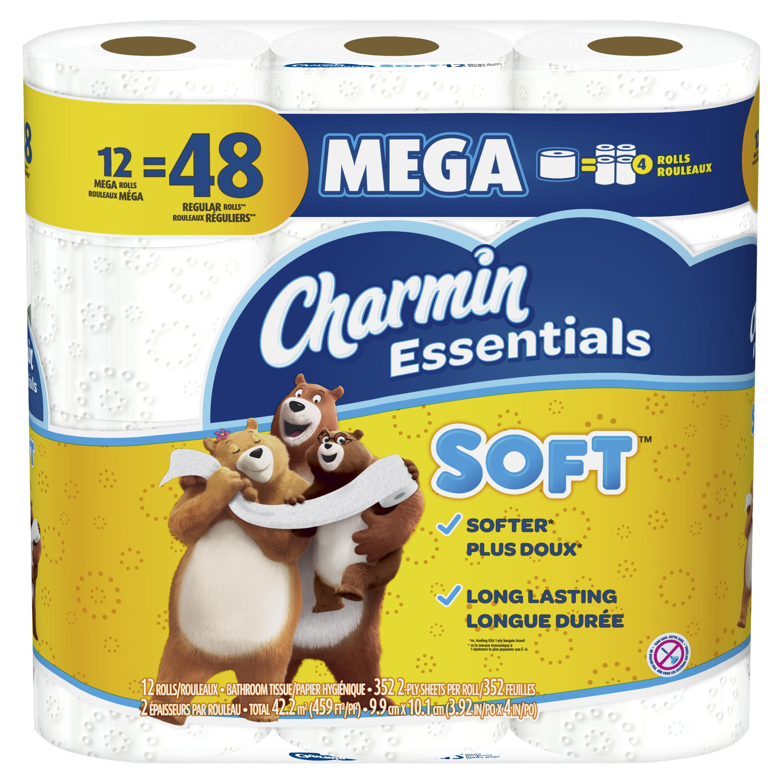 Charmin Essentials Soft Toilet Paper, 12 Mega Rolls