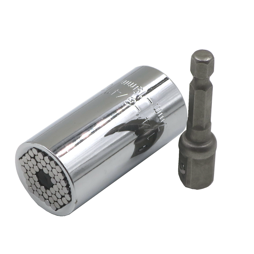 Ratchet Universal Sockets Metric Drill Adapter 7mm to 19mm Professional Repair Tools with Connection Rod