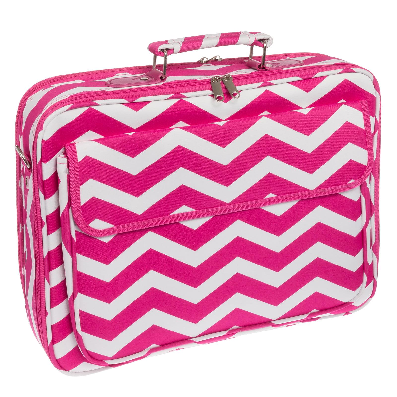 "Pink & White Chevron Stripe 17"" Laptop Case Cover Protector Messenger Carry Bag"