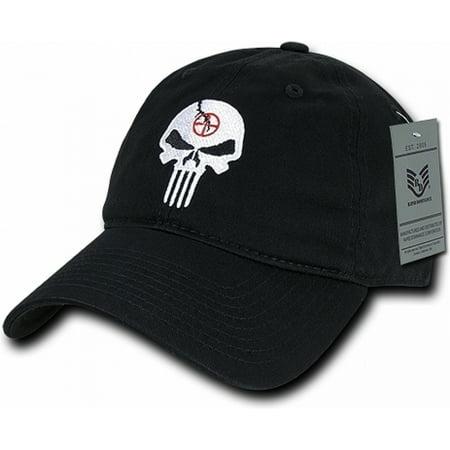 RapDom Punisher Skull Graphic Relaxed Mens Cap [Black - Adjustable]