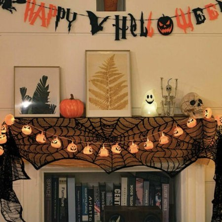 Halloween Table Topics (Fireplace Mantle Scarf Cover Halloween Decor Black Spiderweb Tablecloth Party Home)
