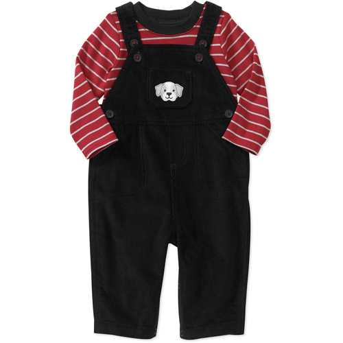 Child of Mine Carters Newborn Boys' 2-Piece Tee and Cord Overall Set