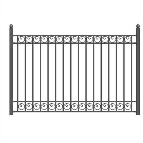 Aleko DIY Steel Iron Wrought High Quality Ornamental Fence Dublin Style 5.5 x 5 Ft by ALEKO