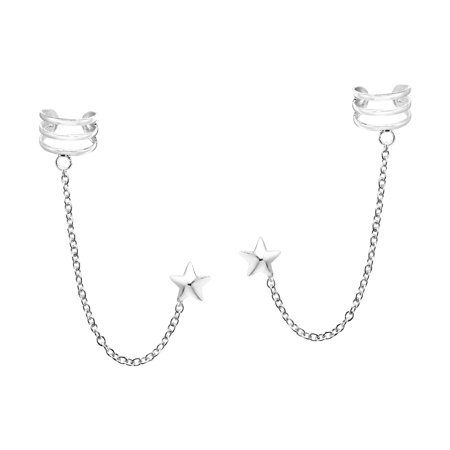 Uniquely Stylish Sterling Silver Star & Chain Ear Cuff Stud Earrings