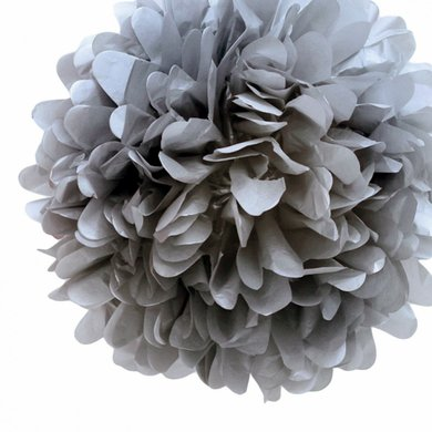 Quasimoon 20'' Charcoal Gray Tissue Paper Pom Poms Flowers Balls, Decorations (4 Pack) by PaperLanternStore - Pom Pom Flowers Name