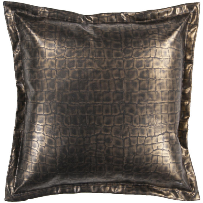 "18"" Metallic Gold Faux Crocodile Skin Decorative Down Throw Pillow"