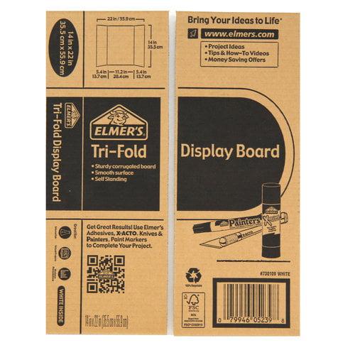 "Elmer'S Trifold White Corrugate Display Board, 14"" X 22"" - Walmart.Com"